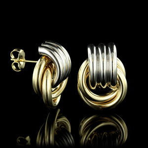 14K Two-tone Knot Earrings