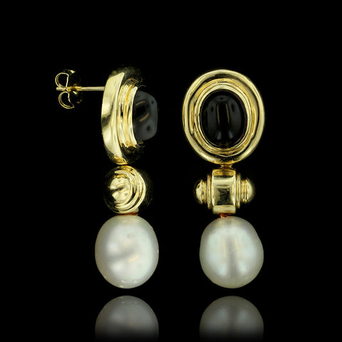 14K Yellow Gold Black Onyx and Freshwater Pearl Drops