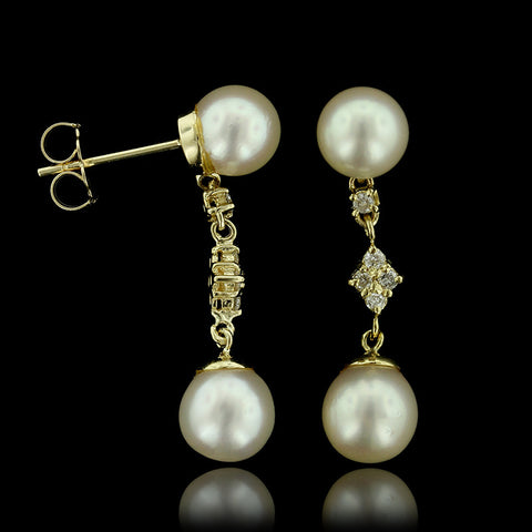 14K Yellow Gold Pearl and Diamond Drops