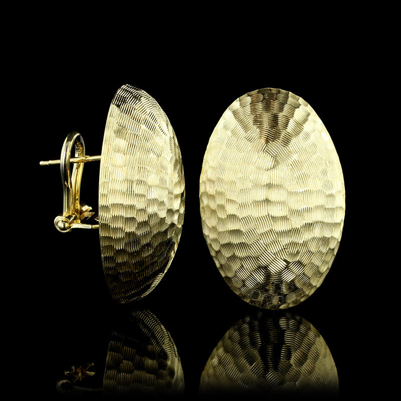 14K Yellow Gold Textured Oval Earrings