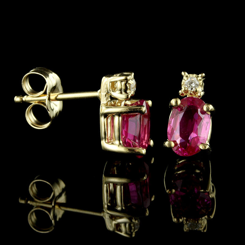 14K Yellow Gold Pink Sapphire and Diamond Earrings
