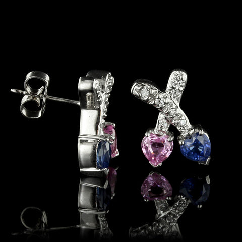 14K White Gold Pink Sapphire, Sapphire and Diamond Earrings