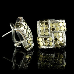 John Hardy Sterling Silver and 18K Yellow Gold Square Dot Earrings