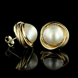 14K Yellow Gold Mabe Pearl Earrings