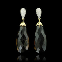 14K Yellow Gold Smoky Quartz and Diamond Drops