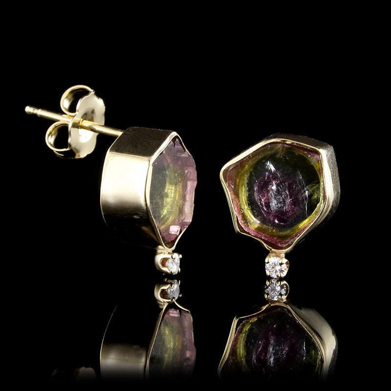 14K Yellow Gold Watermelon Slice Tourmaline and Diamond Earrings