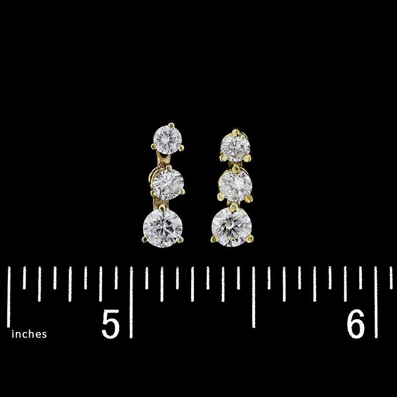 14K Yellow Gold Diamond Three Stone Earrings