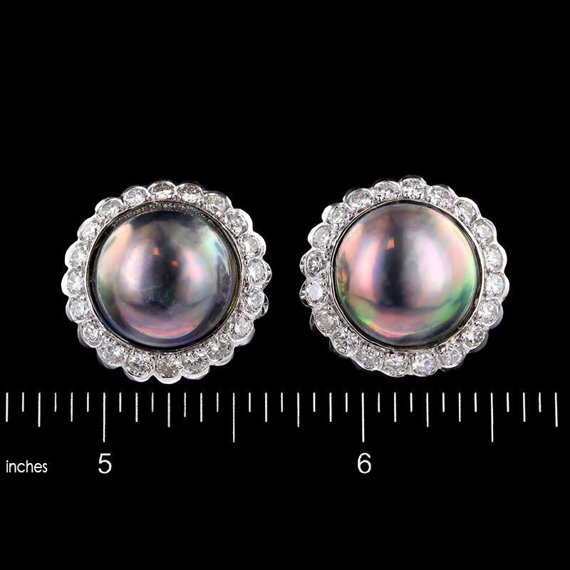 14K White Gold Estate Cultured Black Mabe Pearl and Diamond Earrings