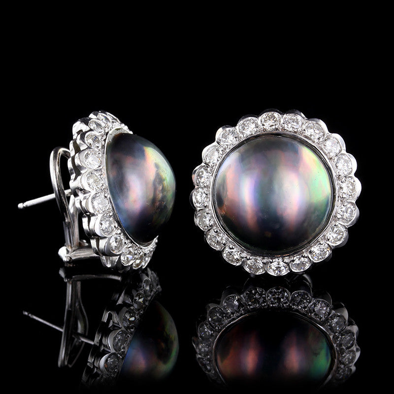 14K White Gold Black Mabe Pearl and Diamond Earrings