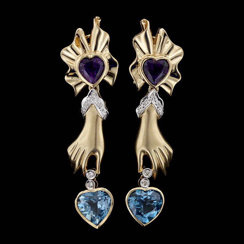 14K Yellow Gold Amethyst, Blue Topaz and Diamond Hand Earrings