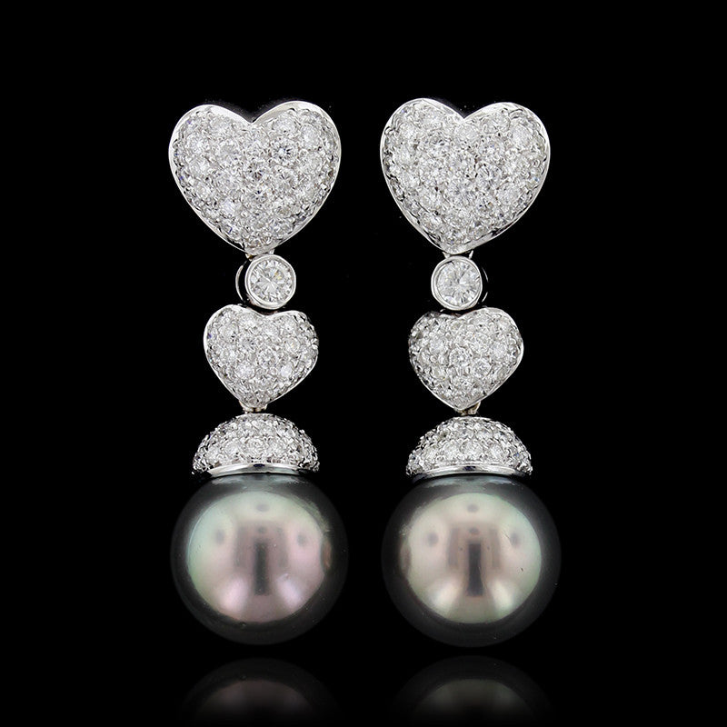 18K White Gold Tahitian Pearl and Diamond Drops