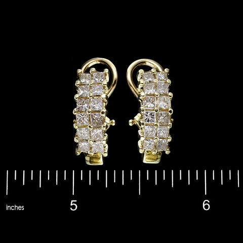 14K Yellow Gold Diamond Half Hoops. The earrings are prong set with 24 princess