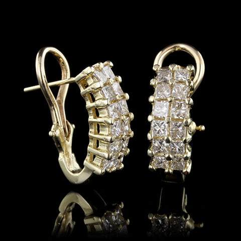 14K Yellow Gold Diamond Half Hoops