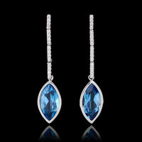 14K White Gold Blue Topaz and Diamond Drops