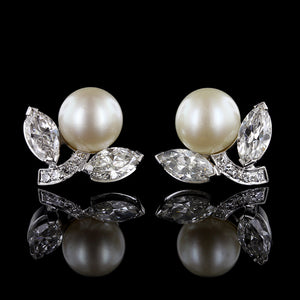 Platinum Cultured Pearl and Diamond Earrings