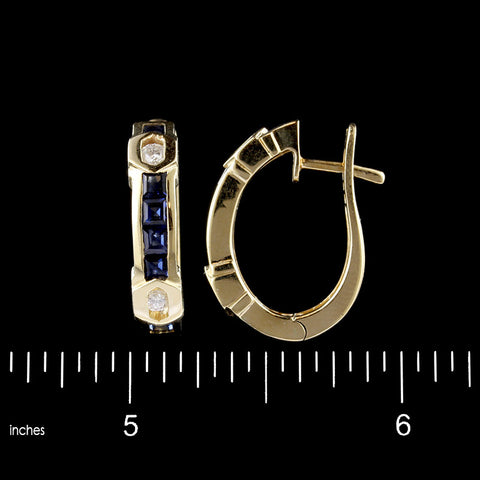 14K Yellow Gold Sapphire and Diamond Hoops