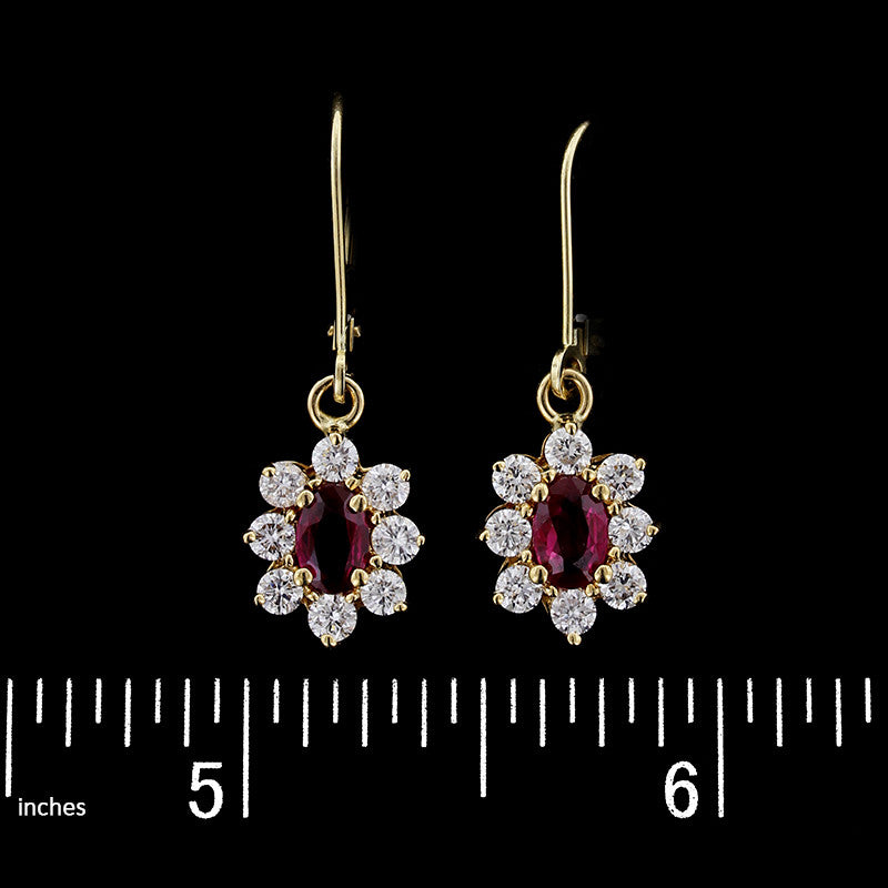 18K Yellow Gold Ruby and Diamond Earrings