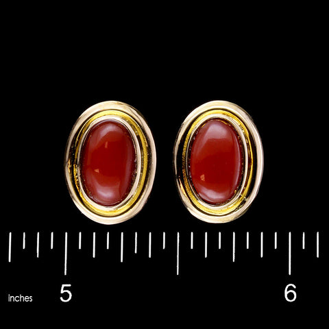 18K Yellow Gold Coral Earrings