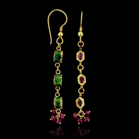 22K Yellow Gold Ruby and Enamel Earrings