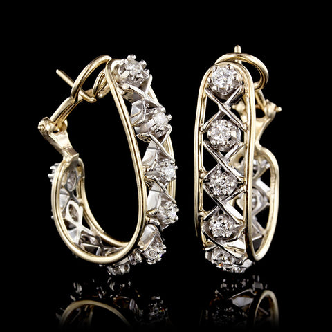 14K Two-tone Gold and Diamond Hoops