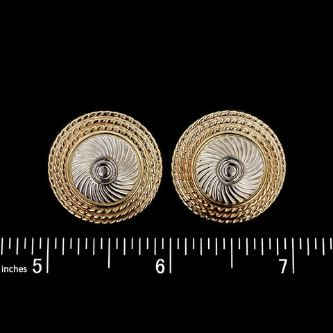 14K Two-Tone Gold Dome Earrings