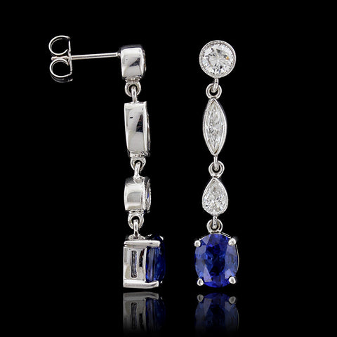 14K White Gold Sapphire Diamond Earrings