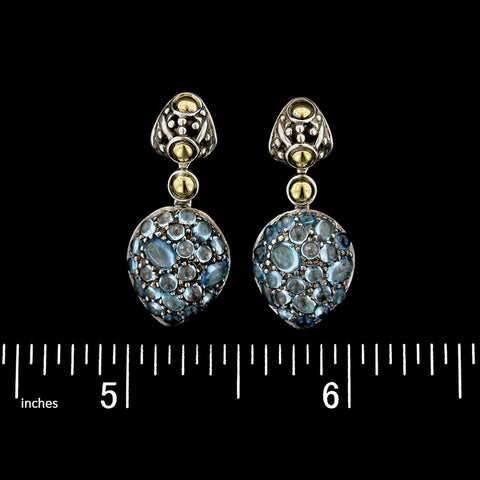John Hardy Sterling Silver and 18K Yellow Gold Blue Topaz Lava Dot Earrings