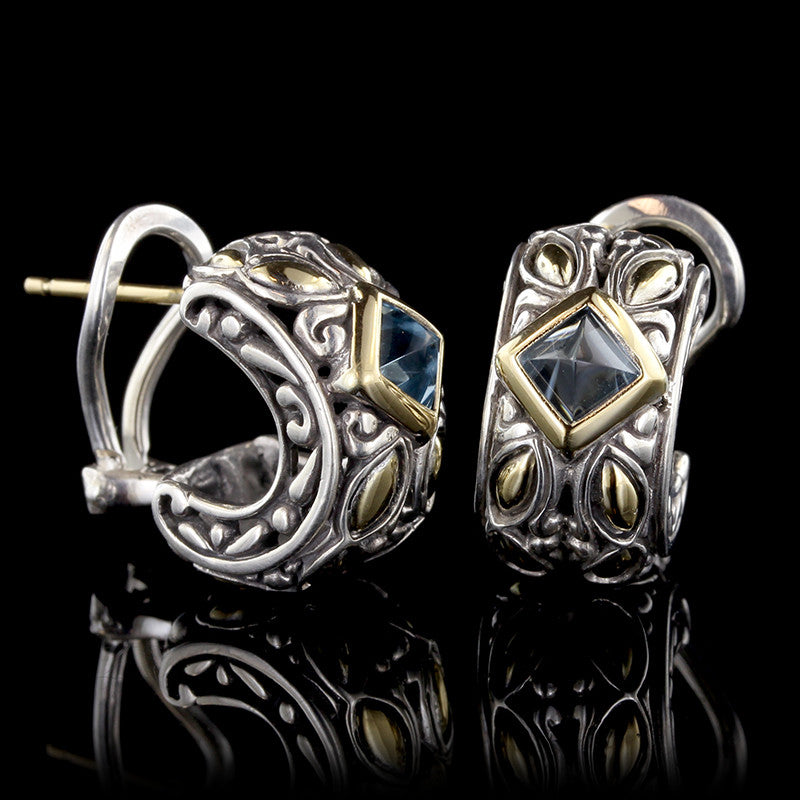 John Hardy Sterling Silver and 18K Yellow Gold Blue Topaz Kawung Earrings