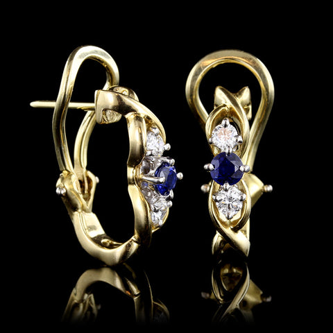 McTeigue 18K Yellow Gold and Platinum Sapphire and Diamond Earrings