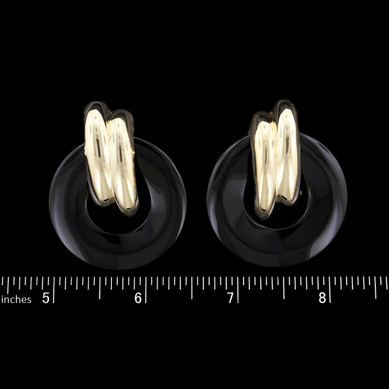 14K Yellow Gold Onyx Earrings