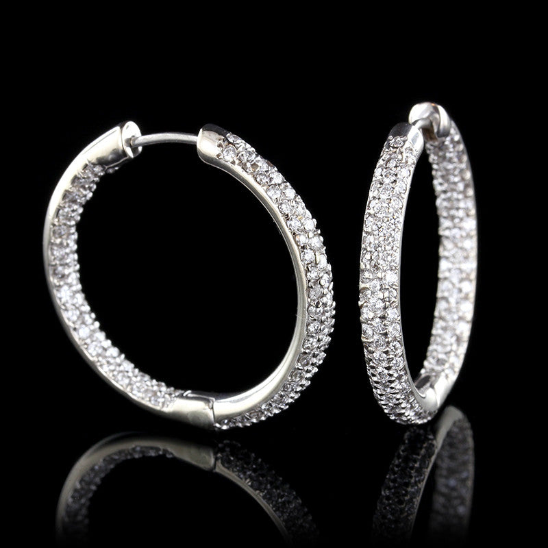 18K White Gold Diamond Inside Out Hoops