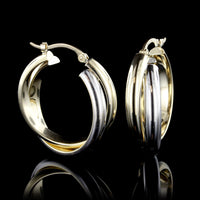 14K Two-tone Gold Hoop Earrings