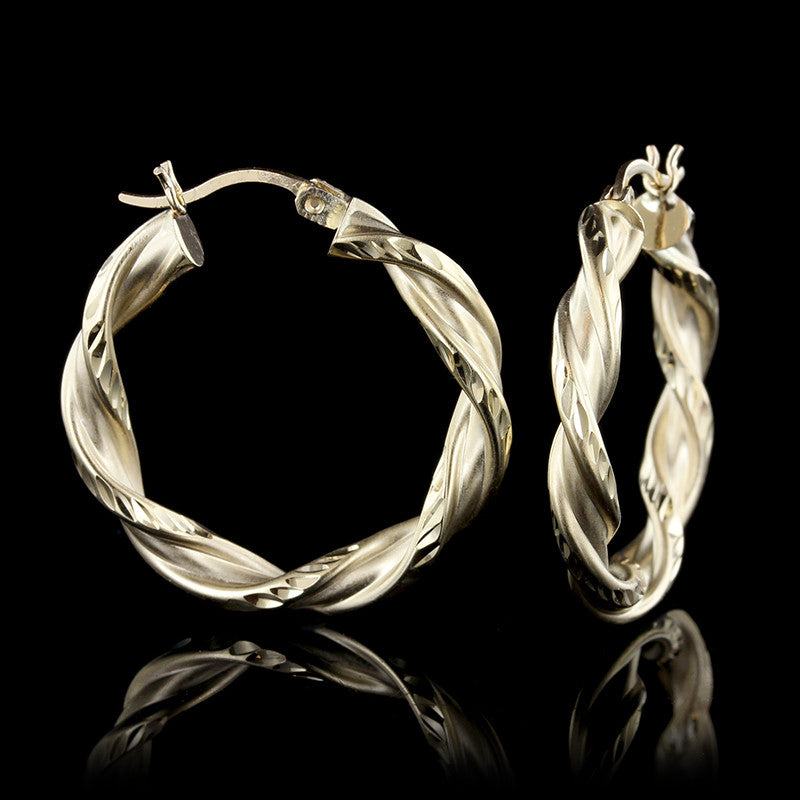14K Yellow Gold Twisted Hoops
