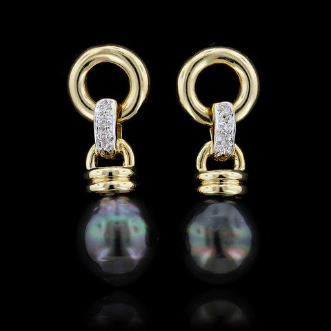 18K Yellow Gold Tahitian Pearl and Diamond Drops