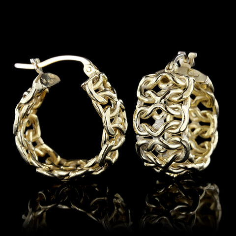 14K Yellow Gold Fancy Link Hoops