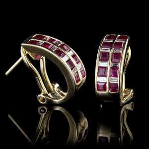 18K Yellow Gold Ruby and Diamond Half Hoops