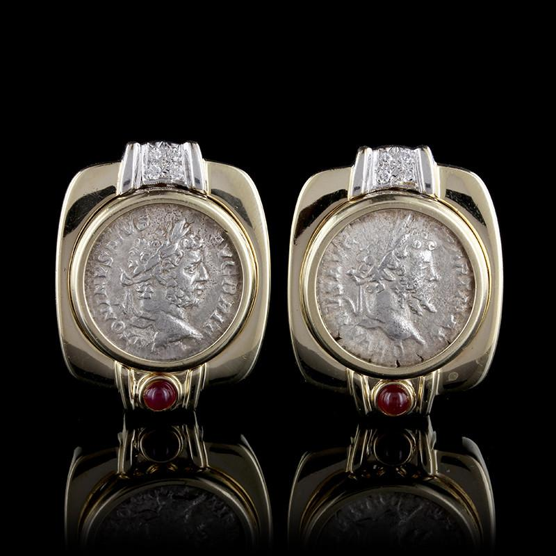14K Yellow Gold Ruby, Diamond and Ancient Style Roman Coin Earrings