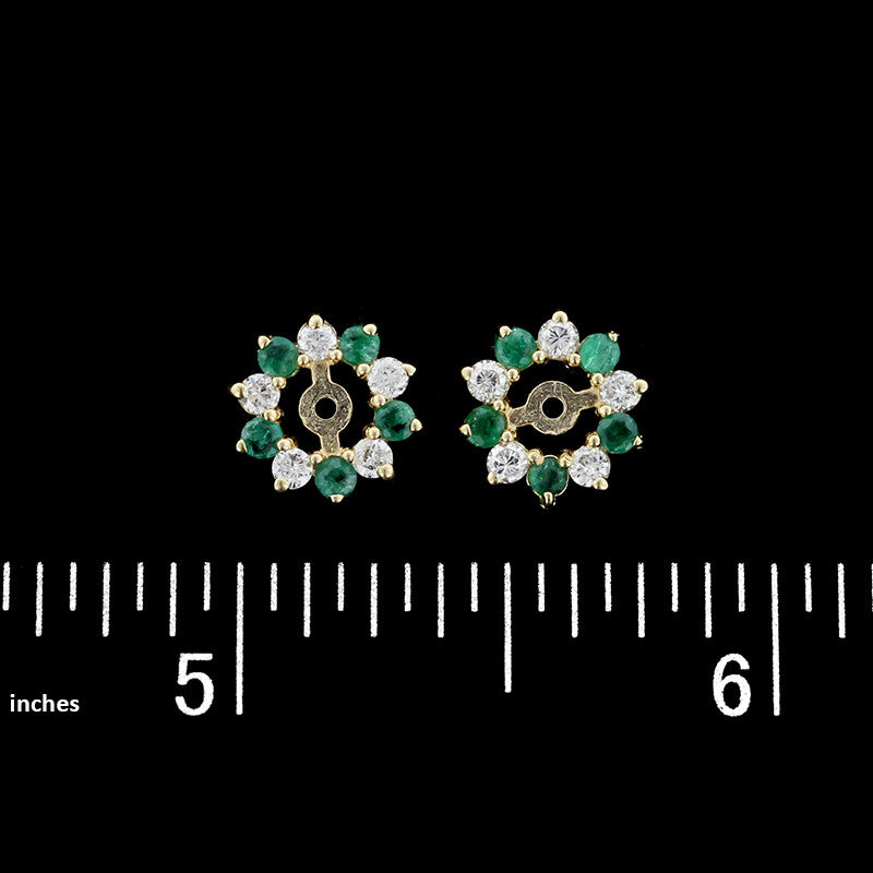 14K Yellow Gold Emerald and Diamond Earring Jackets