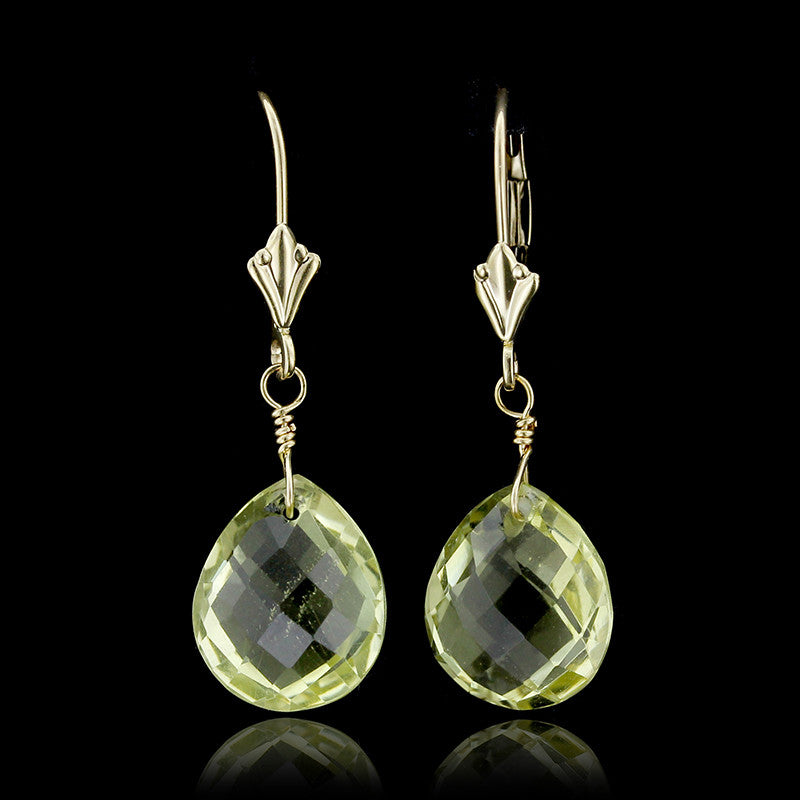 14K Yellow Gold Lemon Quartz Drops