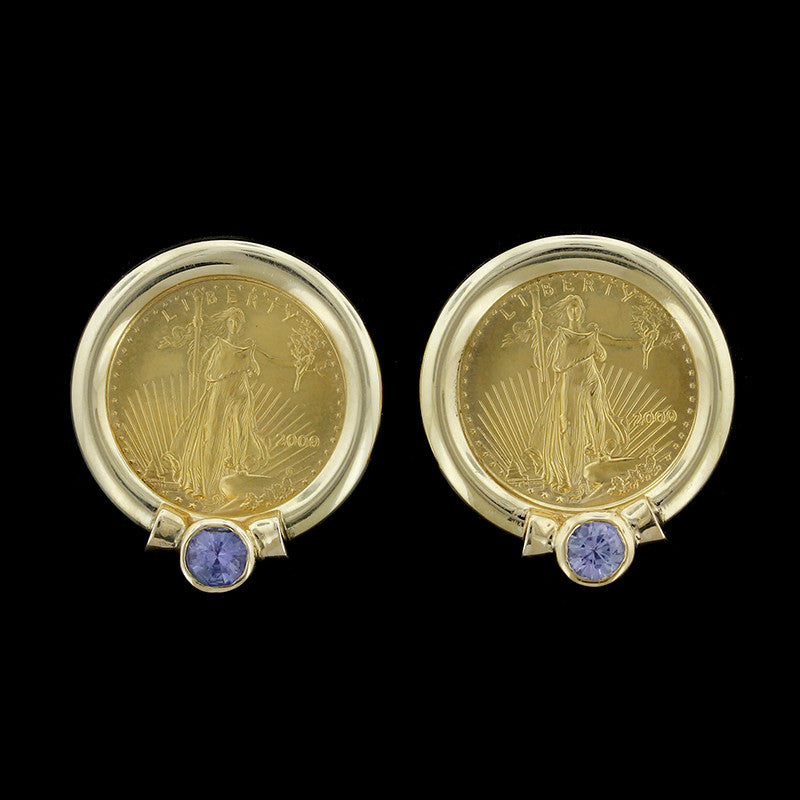 14K Yellow Gold and $5 American Eagle Gold Coin Tanzanite Earrings
