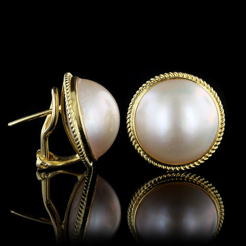 18K Yellow Gold Mabe Pearl Earrings