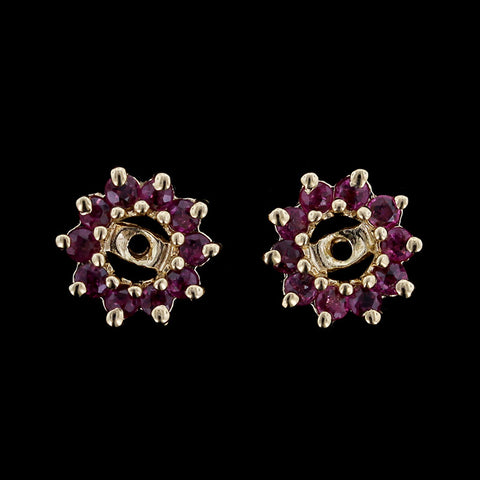 14K Yellow Gold Ruby Earring Jackets