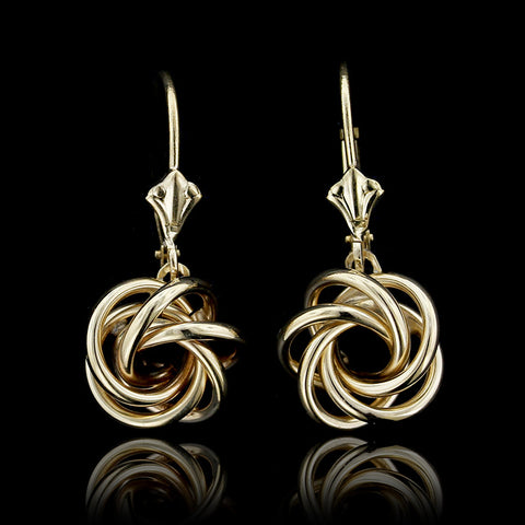 14K Yellow Gold Knot Drop Earrings