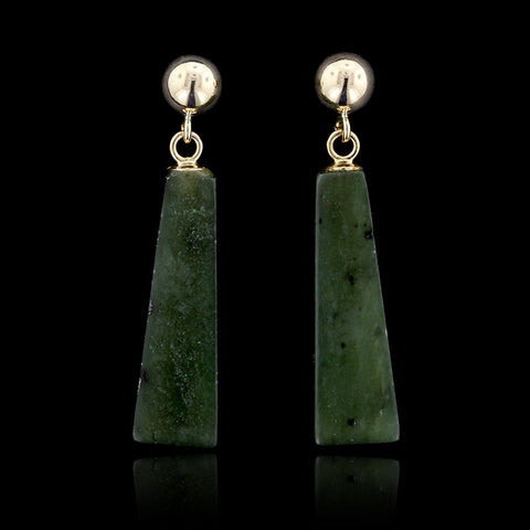 14K Yellow Gold Nephrite Jade Earrings