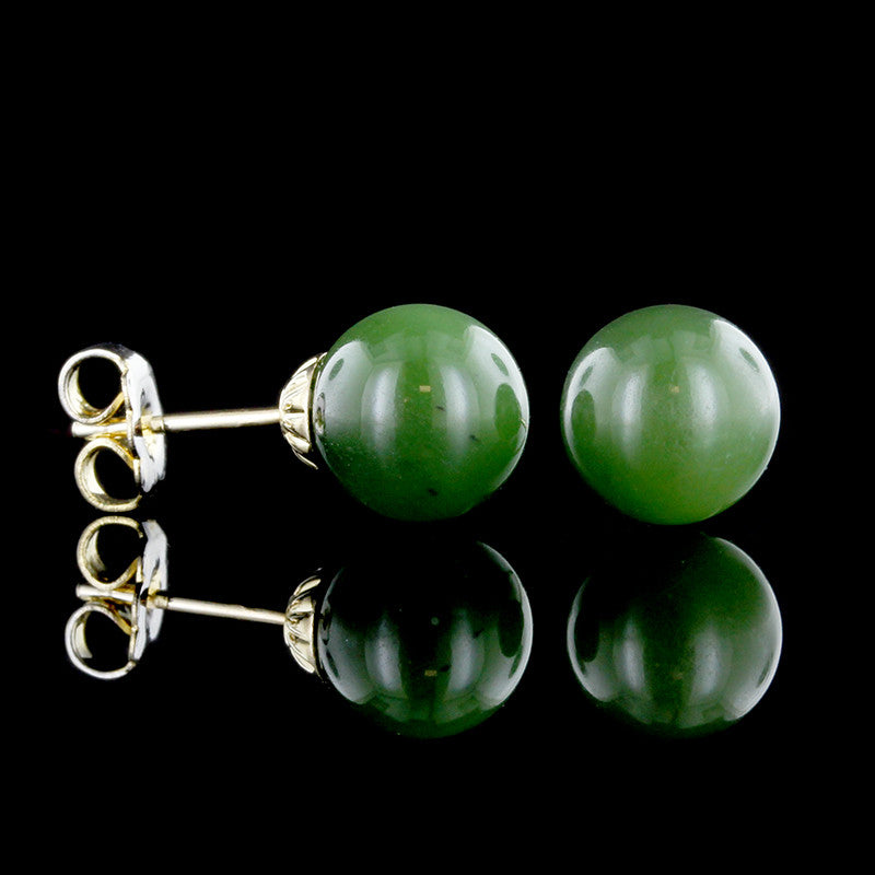 14K Yellow Gold Nephrite Jade Studs