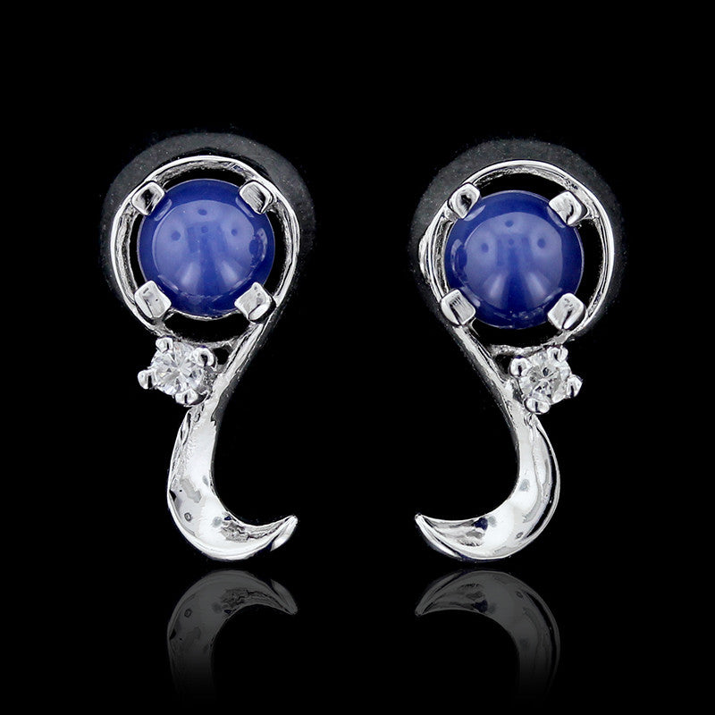 14K White Gold Linde Star Sapphire and Diamond Earrings