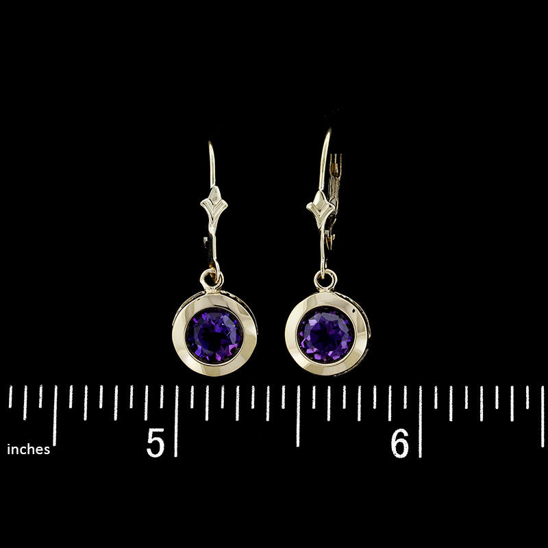 14K Yellow Gold Amethyst Drops