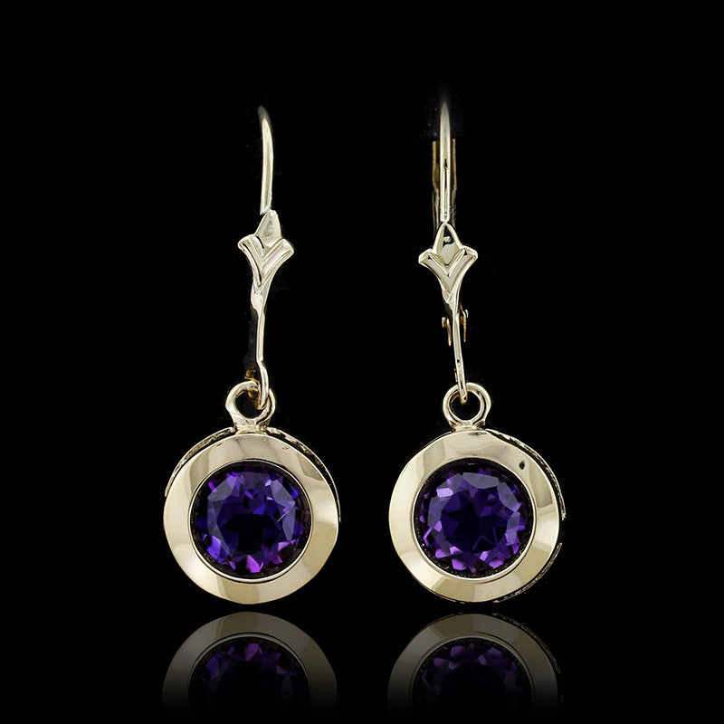 14K Yellow Gold Amethyts Drops