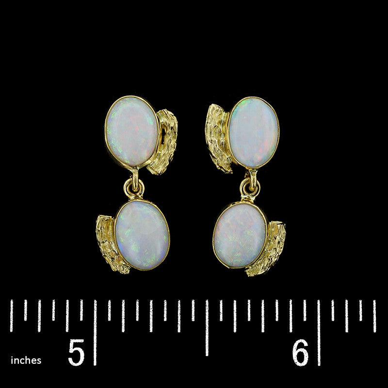 18K Yellow Gold Estate Opal Earrings