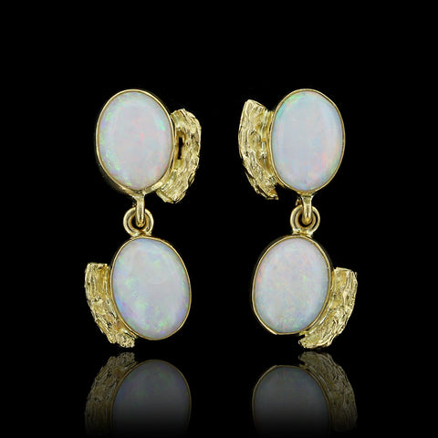 18K Yellow Gold Opal Drops